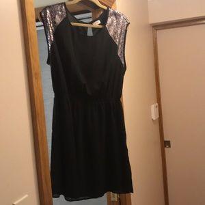 Black Sequined cap sleeved dress